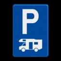 Verkeersbord E9h: Parkeren uitsluitend voor kampeerauto's. Verkeersbord België E09h - Parkeren uitsluitend voor kampeerauto's. E09h parkeerboorden, campers, vakantie, camping