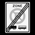 Verkeersbord EINDE ZONE parkeerverbod voor vrachtautos en bussen. Autobus is : motorvoertuig, ingericht voor het vervoer van meer dan acht personen, de bestuurder daaronder niet begrepen Vrachtauto is : motorvoertuig, niet ingericht voor het vervoer van personen, waarvan de toegestane maximum massa meer bedraagt dan 3500 kg Verkeersbord RVV E201ze einde parkeerbord, vrachatauto, vrachtwagen, E201