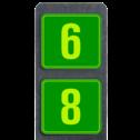 Huisnummerpaal met BORD Fluor Modern - Dubbel - klasse 3 buitengebied, huisnummer, nummer, huis, buiten, gebied, paal, Modern, huisnummerbord, Dubbel, Fluor, Huisnummerpaal, Huisnummerpalen