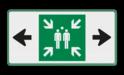 Veiligheidspictogram - Verzamelplaats - BT33b - E007 + pijl links-rechts BT33b Vlucht, Vluchtroute, verzamelplaats, verzamelbord, verzamelen, calamiteiten, BHV, verzamelpunt, Eigen Terrein, BT33