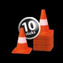 Afzetkegel/pylon 200mm - set van 10 stuks - oranje/wit pion, pionnen, kegels, pilon, oranje, hoedje