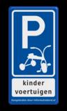 Verkeersbord Eigen terrein + RVV E08 kinderfiets Verkeersbord RVV E08 kinderfiets VUmc beperking, gehandicapten, eigen parkeerbord, VU, medisch centrum, sponsoring, E8