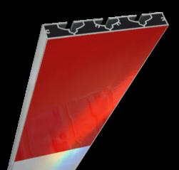 Schrikhekplank 1500mm lang VERZWAARD blokmotief rood/wit