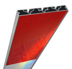 Schrikhekplank 3500mm lang VERZWAARD blokmotief. RVV BB16-1 hekplank, schrikhek, rood, witte, planken, schrikplank, afzethek, blokken, RVV BB15-2, BB15