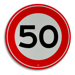 Product Maximumsnelheid Verkeersteken RVV A01-050 - klasse 3 50 kilometer per uur, 50 jaar, jubileum, bord in tuin, speciale gelegenheid, A1