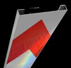 Schrikhekplank 1500mm lang C-profiel pijlmotief  RVV BB18-1 hekplank, schrikhek, rood, witte, planken, schrikplank, afzethek, blokken