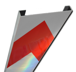 Schrikhekplank 5000mm lang C-profiel pijlmotief. RVV BB18-1 hekplank, schrikhek, rood, witte, planken, schrikplank, afzethek, blokken, RVV BB15-2, BB15