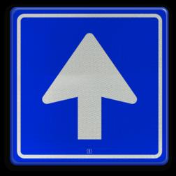 Verkeersbord Eenrichtingsweg Verkeersbord 180x180mm VLAK AluPanel RVV C03 rijrichting, eenrichting, bord met pijl, vierkant bord met pijl, blauw bord met pijl, c3