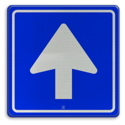 Verkeersbord Eenrichtingsweg, u mag alleen vanaf deze zijde inrijden. Verkeersbord RVV C03 - Eenrichtingsweg C03 rijrichting, eenrichting, bord met pijl, vierkant bord met pijl, blauw bord met pijl, c3, verplichte rijrichting