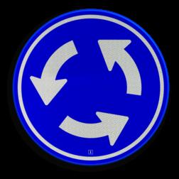Verkeersbord Rotonde verplichte rijrichting Verkeersbord RVV D01 - Rotonde D01 rotondebord, 3 pijlen, rond blauw bord, D1, rotonde