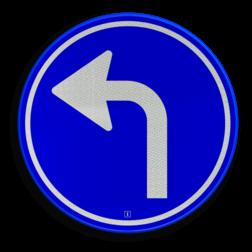 Verkeersbord Gebod tot het volgen van de rijrichting of één van de rijrichtingen die op het bord zijn aangegeven Verkeersbord RVV D05l - Verplichte rijrichting linksaf D05l pijlbord, rond blauw bord, bord met pijl, pijl links, D5, D5l, verplichte rijrichting, volgen