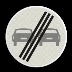 Verkeersbord Einde verbod voor motorvoertuigen om elkaar onderling in te hale Verkeersbord RVV F02 - Einde inhaalverbod voertuigen F02 verboden in te halen, einde, auto's, niet inhalen, verbodsbord, F2