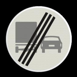 Verkeersbord Einde verbod voor vrachtauto's om motorvoertuigen in te halen Verkeersbord RVV F04 - Einde inhaalverbod vrachtverkeer F04 verbodsbord, verboden in te halen, vrachtwagen, auto, niet inhalen, F4, einde verbod