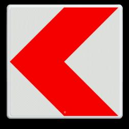 Verkeersbord Bochtschild met enkele pijlfiguratie voor in een naar links afbuigende bocht Verkeersbord RVV BB12l BB12l