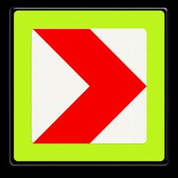Verkeersbord Bochtschild met enkele pijlfiguratie voor in een naar rechts afbuigende bocht Verkeersbord RVV BB12rf - fluor rand BB12rf