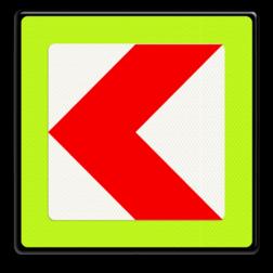 Verkeersbord Bochtschild met enkele pijlfiguratie voor in een naar links afbuigende bocht Verkeersbord RVV BB12lf - fluor rand BB12lf