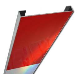 Schrikhekplank 1000mm lang C-profiel blokmotief. hekplank, schrikhek, rood, witte, planken, schrikplank, afzethek, blokken, RVV BB15-2, BB15
