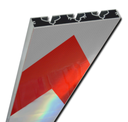 Schrikhekplank 2000mm lang VERZWAARD pijlmotief. RVV BB18-1 hekplank, schrikhek, rood, witte, planken, schrikplank, afzethek, blokken, RVV BB15-2, BB15