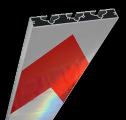 Schrikhekplank 5000mm lang VERZWAARD pijlmotief. RVV BB18-1 hekplank, schrikhek, rood, witte, planken, schrikplank, afzethek, blokken, RVV BB15-2, BB15