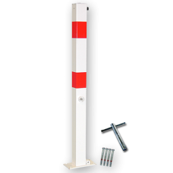 Antiparkeerpaal 70x70mm rood/wit - neerklapbaar - bodemmontage driekant, sleutel, brandweerpaal, parkeren, anti-parkeerpaal, parkeren, rood-witte paal, verboden te parkeren, parkeerbeugel, klappaal, klap paal, trottoirpaal, geen parkeerplaats, niet parkeren