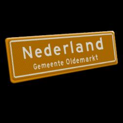 Naambord 1240x520 mm RVV H01b NEDERLAND plaatsnaambord, kombord, Nederland, zelf tekst invoeren, eigen plaatsnaam, oldemarkt, oranje, Holland, Nederland, H1, H1b