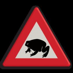 Informatiebord Overstekende padden of kikkers Informatiebord - waarschuwing  overstekende padden pad, kikker, dier,