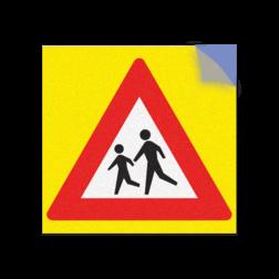 Product RVV J21 / spelende kinderen Kliko sticker RVVJ21 35x35 cm + gele achtergrond school, spelende kinderen, matig uw snelheid, overstekende kinderen, J21