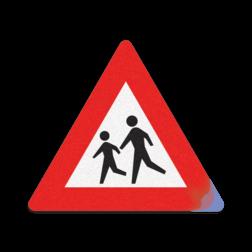 Product RVV J21 / spelende kinderen Kliko sticker RVVJ21 35x35 cm school, spelende kinderen, matig uw snelheid, overstekende kinderen, J21