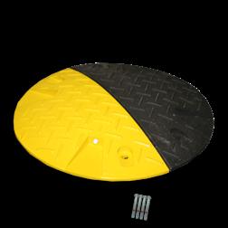 Snelheidsremmer Ø420x50mm hoogte geel/zwart punaise, snelheidsremmer, speedbump, drempel, verkeersdrempel
