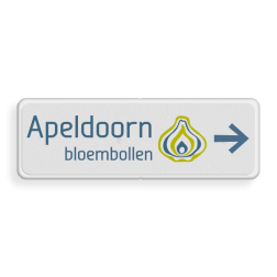 Logobord + naam en pijl - vol reflecterend Route, logo
