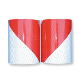 Markeertape reflecterend klasse 2 - 141mm - links/rechts markeertape, markeringstape, rood wit, reflecterend