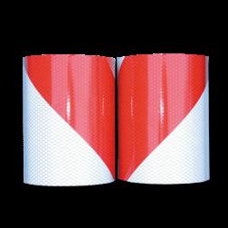Markeertape reflecterend klasse 2 - 9 meter per rol - 141mm - links/rechts markeertape, markeringstape, rood wit, reflecterend