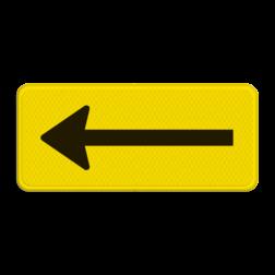 Verkeersbord RVV OB501rt  geel/zwart pijl links, wit bord, richting, OB501l