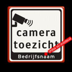Tekstbord Camera toezicht + bedrijfsnaam Tekstbord Cameratoezicht   Bedrijfsnaam - BP07 parkeren, logobord, camera, bewaking, stichting criminee, beveiliging, secure lane,