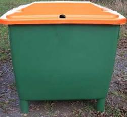 Strooizoutbak GARANT - container met deksel glad wegdek, strooien, zout, grind, gladheid, gladde weg, ijzel, gladheidbestrijding, strooizout, zoutkist
