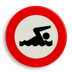 Verkeersbord - verboden te zwemmen verbodsbord, verboden te zwemmen,