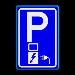 Verkeersbord Parkeerplaats met oplaadpunt - Parkeergelegenheid alleen bestemd voor elektrische voertuigen Verkeersbord RVV E08o - oplaadpunt - BE04a E08o BW101 SP19 - autolaadpunt, autolaadpunt, oplaadpalen, oplaadpaal, BE04, elektrische, BW101, laadpunt, oplaadpunt, laadpaal, oplaadpalen, oplaadbaar