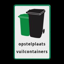 Informatiebord - Opstelplaats vuilcontainers logobord, eigen ontwerp, schoolplein, speciale borden, huisvuil, container, vuil, opstelplaats, afvalbak