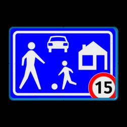 Verkeersbord Woonerf met snelheidsbeperking Verkeersbord RVV G05 Woonerf met snelheidsaanduiding A01-xx Rijswijks verkeersbord, kinderen, G5, woonerf met snelheid, nieuw verkeersregelbord