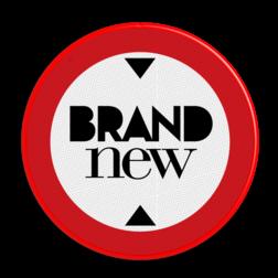 Logobord rood/wit/zwart ROND zelf tekstbord maken, tekst invoeren, blauw bord