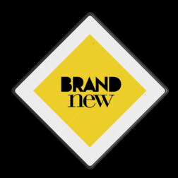 Logobord wit/geel/zwart VIERKANT zelf tekstbord maken, tekst invoeren, blauw bord