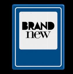 Logobord blauw/wit RECHTHOEK - P zelf tekstbord maken, tekst invoeren, blauw bord