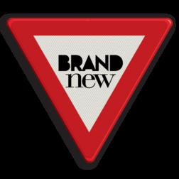 Logobord rood/wit/zwart DRIEHOEK zelf tekstbord maken, tekst invoeren, blauw bord