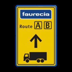 Informatiebord  3 kleuren opdruk + logo Faurecia, routebord