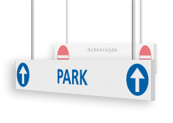 Verwijsbord AL-KOKER - RAL9010 - auto - 200x200x15mm - Erasmus