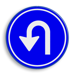 Verkeersbord RVV D08 - Keren pijl, rond blauw bord, bord met pijlen, pijlenbord, D7, U turn, verplichte rijrichting, volgen