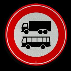 Verkeersbord Autobus is : motorvoertuig, ingericht voor het vervoer van meer dan acht personen, de bestuurder daaronder niet begrepen Vrachtauto is : motorvoertuig, niet ingericht voor het vervoer van personen, waarvan de toegestane maximum massa meer bedraagt dan 3500 kg Verkeersbord RVV C07b - Gesloten voor vrachtauto's en bussen C07b verbodsbord, verboden voor vrachtwagens, geen vrachtwagens, verboden, vrachtauto's, c7, autobussen, bussen