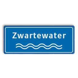 Naambord Rivieren blauw-wit ijssel, maas, rijn, beek, water, golfjes, naambord, meer, plas waterweg
