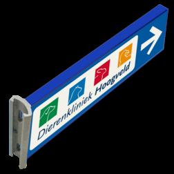 Verwijskoker 700x200x15mm   eigen logo / 4 kleur verwijsbord, aanwijsbord