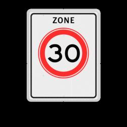 Verkeersbord Zone maximum toegestane snelheid 30 kilometer per uur, geldig tot einde zone. Verkeersbord RVV A01-30zb - Begin zone maximum snelheid A01-030zb snelhiedsbord, snelheidbord, 30 km bord, snelheid, zonebord, A1, zone, maximumsnelheid, maximum snelheid, maximalesnelheid, maximale snelheid